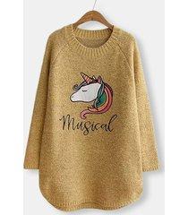 carino maglione casual manica lunga stampa unicorno