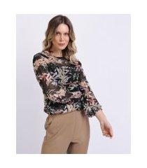 blusa de tule feminina estampada de folhagens manga bufante decote redondo preta
