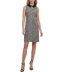 tommy hilfiger petite collared tweed sheath dress