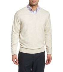 men's cutter & buck lakemont classic fit v-neck sweater, size xxx-large - grey