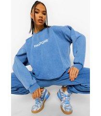 acid wash gebleekte pantone sweater met crewneck, gewassen blauw