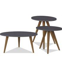 kit com mesa de centro e mesas laterais lyam decor retrô preto