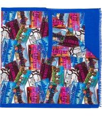 billionaire all-over city scarf - blue