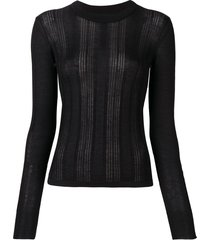 barrie lace panel fitted sweater - black