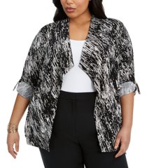 belldini plus size draped roll-tab cardigan