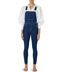 weworewhat women's high-rise skinny denim overalls - blue print - size xs