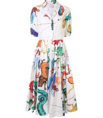 stella jean printed midi shirt dress - white