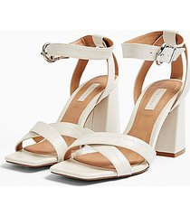 *wide fit sacha white ankle tie block heel sandals - white