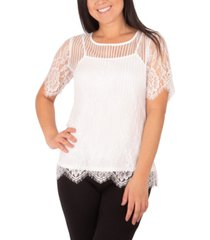 ny collection mixed-lace top