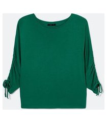 blusa manga 3/4 com franzido em viscose | cortelle | verde | g