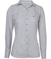 camisa dudalina manga longa tricoline fio tinto maquinetado feminina (listrado, 46)