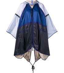 moncler colour block hooded cape - blue