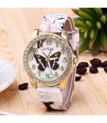 orologi alla moda da donna con cinturino in pelle al quarzo con cinturino numerico a forma di grande numero di farfalle