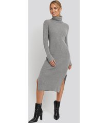 na-kd recycled turtle neck split hem sweater dress - grey