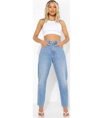 basic mom jeans met hoge taille, mid blue