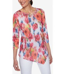 ruby rd. women's misses knit warp floral top