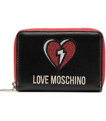 love moschino logo-embroidered wallet - black