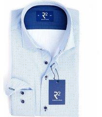 r2 westbrook heren overhemd fijn gestipt poplin modern fit blauw