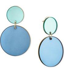 rachel rachel roy gold-tone blue disc double drop earrings
