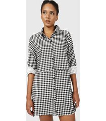 vestido missguided oversized dip back shirt dress check negro - calce oversize