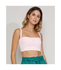 top cropped feminino com recorte alça média decote princesa rosa claro