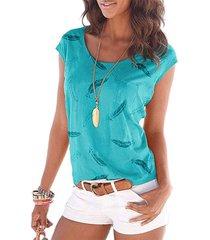 camiseta sin mangas con estampado gráfico de plumas, redondo cuello