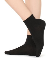calzedonia extra short flat-knit bandless cotton socks woman black size tu