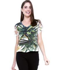 blusa 101 resort wear manga renda tunica crepe estampada folhas verde