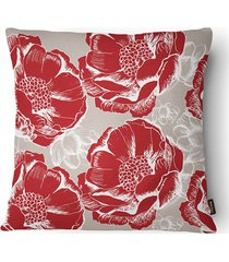 almofada decorativa realce 079 40x40cm branca e vermelha