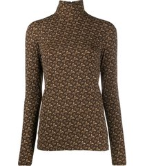 burberry tb monogram turtleneck top - brown