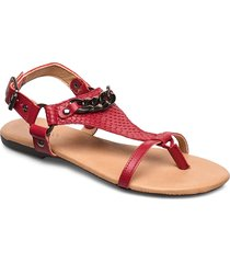 biabecca verona leather sandal shoes summer shoes flat sandals röd bianco