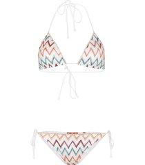 missoni mare zigzag crochet knit bikini set - white