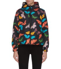 'durham' butterfly print reversible hooded puffer jacket