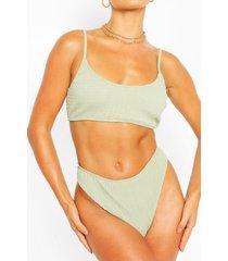 shirred crop bikini, sage