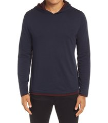 men's vince double layer hoodie, size large - blue