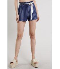 short feminino clochard listrado com corda azul marinho