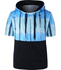 tie dye short sleeve drawstring hoodie