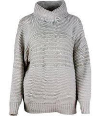 brunello cucinelli crater neck sweater in cashmere, wool and silk with links stitch embellished with applied sequins