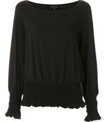 alcaçuz ramona elastic waist blouse - black