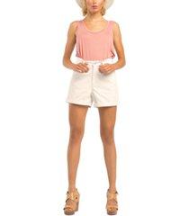 black tape petite stretch-denim cuffed-hem mom shorts
