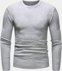 maglioni lavorati a maniche lunghe in cotone traspirante a maniche lunghe in puro cotone colore o-collo