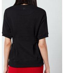 kenzo women's waisted sweatshirt - black - - l