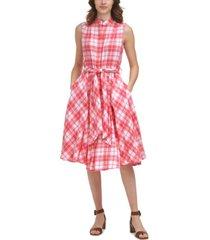 calvin klein belted plaid a-line dress