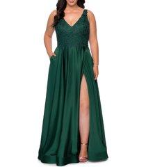 plus size women's la femme beaded satin gown