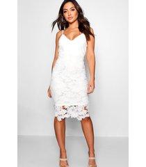 boutique midi-jurk met bandjes van gehaakte kant, wit