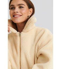 na-kd teddy zipper jacket - white