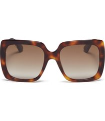 glass crystal logo temple tortoiseshell acetate square sunglasses
