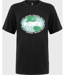 polera converse around the world graphic cotton jersey t-shirt negro - calce regular