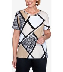 alfred dunner plus size short sleeve animal patchwork print knit top with lattice neckline