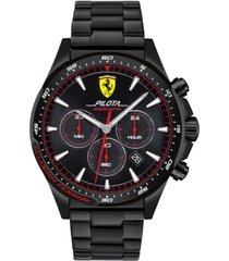 ferrari men's chronograph pilota black pvd stainless steel bracelet watch 45mm